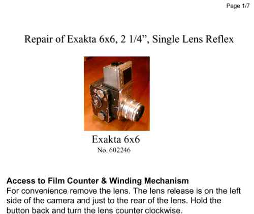 Repair Instructions Exakta 6x6 (1952), page 1 (US)